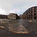 3D spherical panorama with 360 viewing angle.  Ready for virtual reality or VR. Full equirectangular projection. ghost town. Exterior of abandoned industrial building. architecture of the city