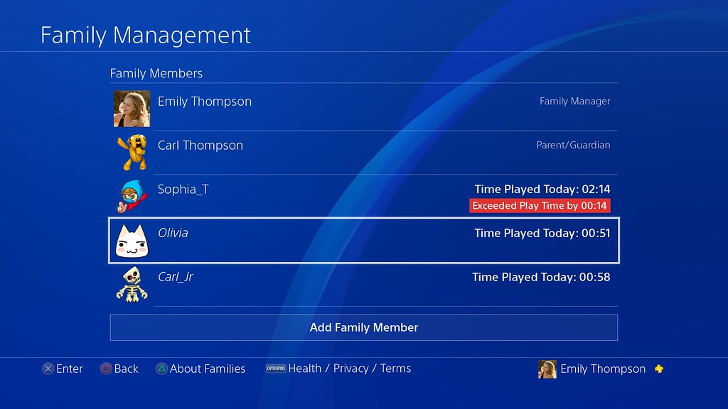 Software del sistema PS4 Actualización 5.50: Play Time Managment