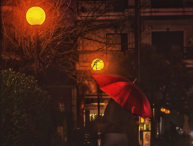 The red umbrella .