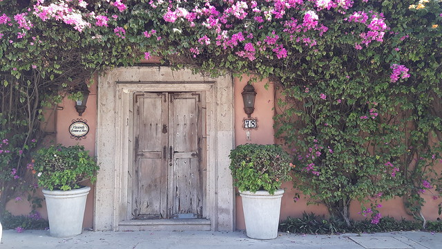 Beautiful doorway covered in purple flowers in Bucerias, Mexico