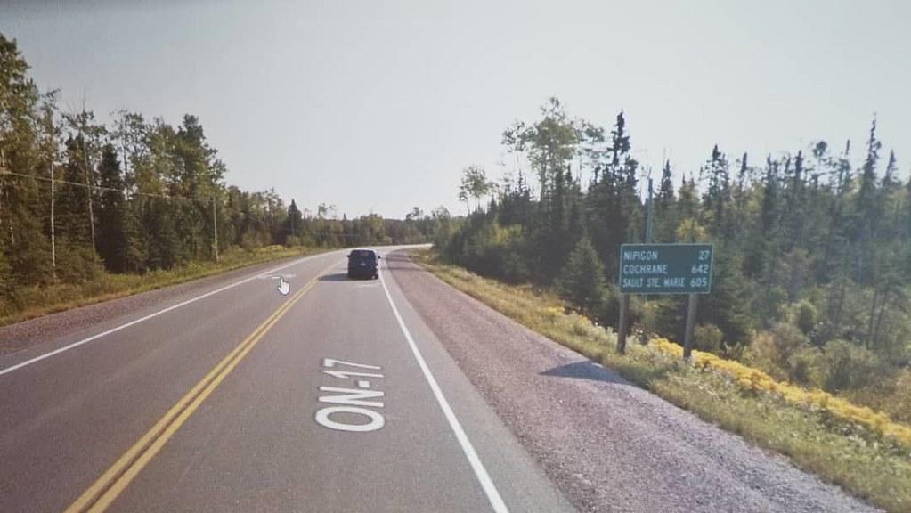 Nipigon 27 km, Cochrane 642 km, Sault St. Marie 605 km. #gettingcloser #ridingthroughwalls #xcanadabikeride #googlestreetview #ontario