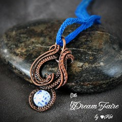 Dragon Vein Caligraphy - Agate and Woven Copper Wire Necklace