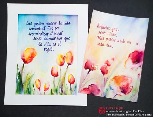 Flors d'aigua. Aquarel·la Eva Elias, texts manuscrits Ferran Cerdans