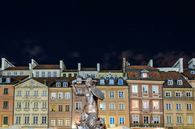 ABM (Another Blue Monday) / Night at the Old town marketplace, Warsaw, Poland