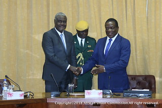 Official visit of the Chairperson of the Commission of the African Union, H.E Moussa Faki Mahamat to the republic of Zimbabwe. Feb.20/21,2018