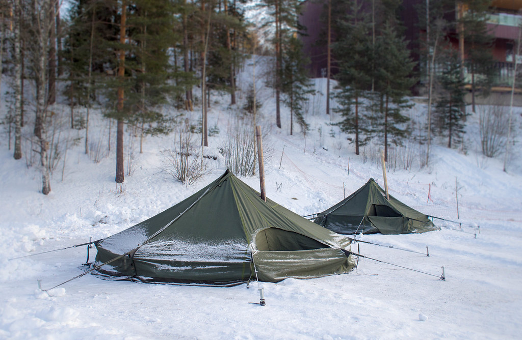 Winter camping in Nuuksio; Hawu tent with a stove