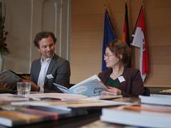Das Juryteam des BDZV, Hauptpartner des SZWdL, Hans-Hendrik Falk und Inga Dreyer, junge Journalistin