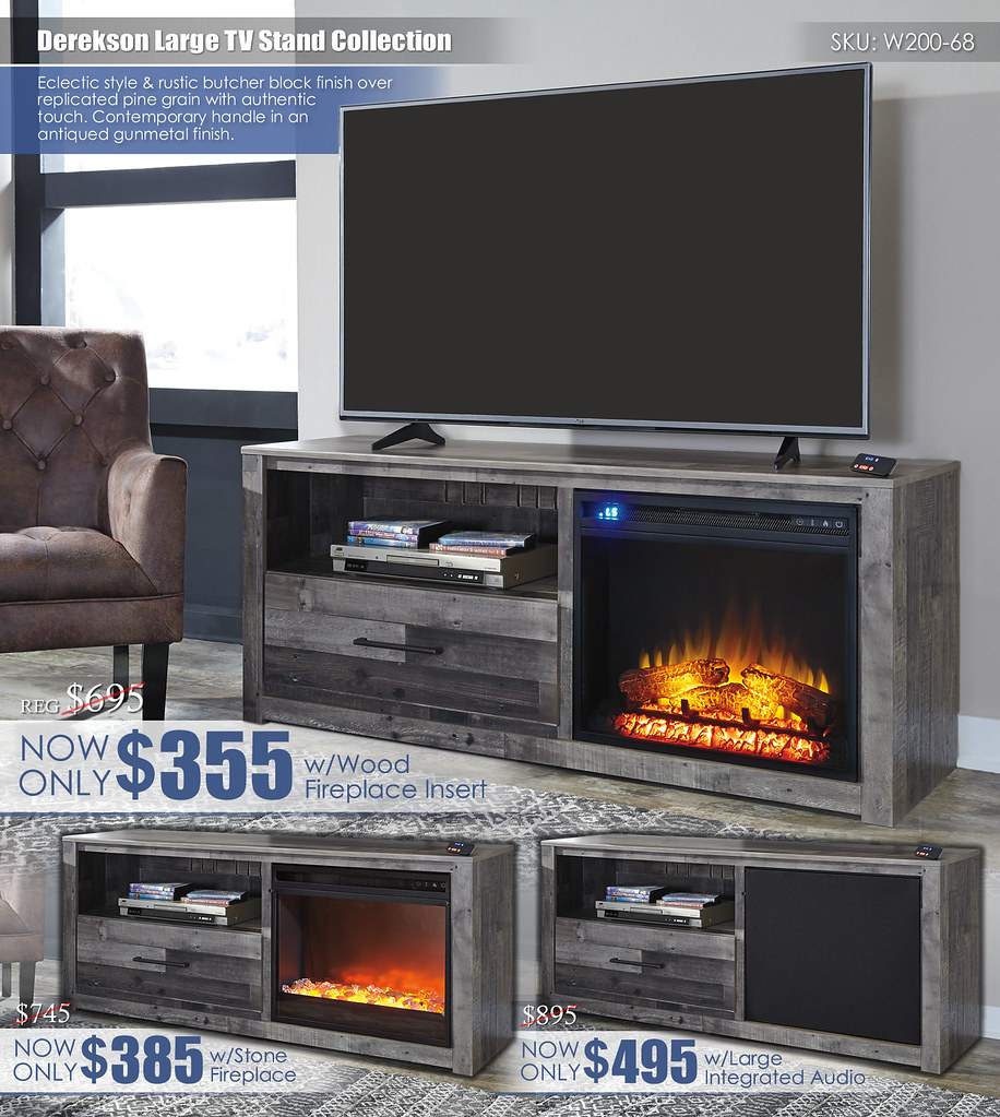 Derekson Large TV Stand Collection Collage W200-68