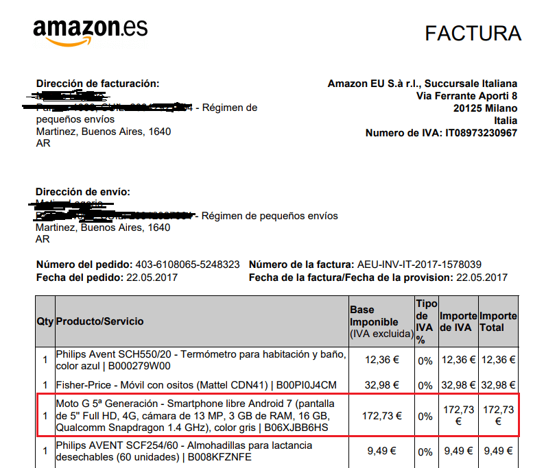 factura de compra de amazon