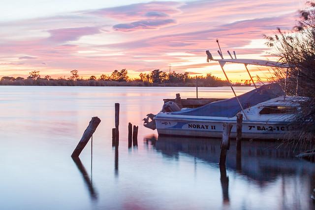 Sunset in Ebro's delta