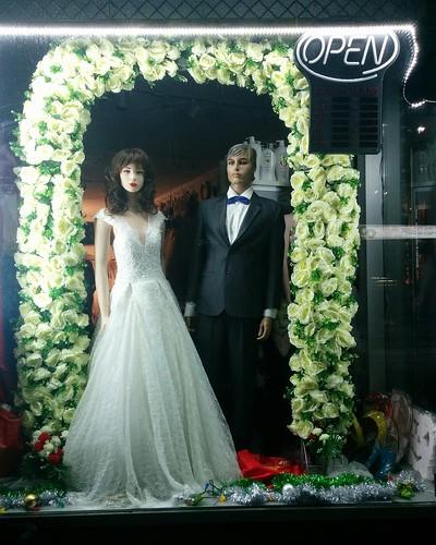 Window display, Yen Phuong Fashion #toronto #night #dundasstreetwest #dufferinstreet #yenphuongfashion #wedding #window #mannequin