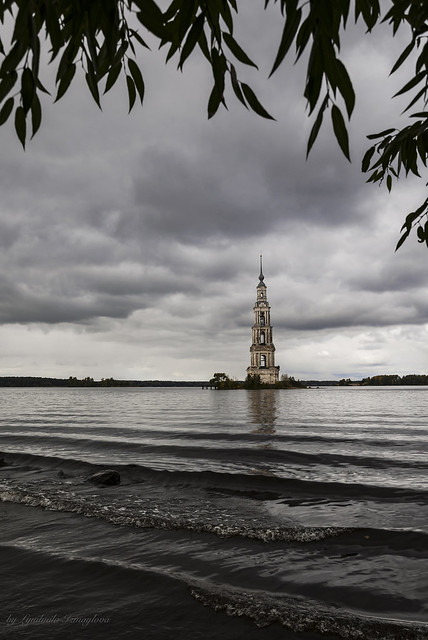 The bell tower of the flooded monastery