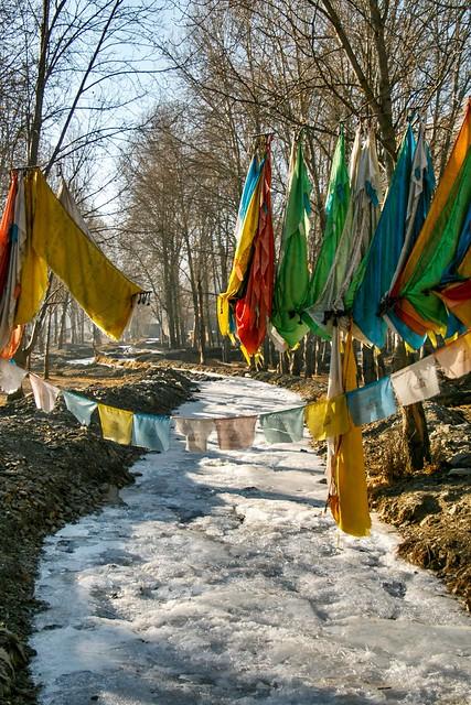 A frozen stream with Prayer flags, Garzê 甘孜 カンゼゴンパへ続く道の凍った小川とタルチョー
