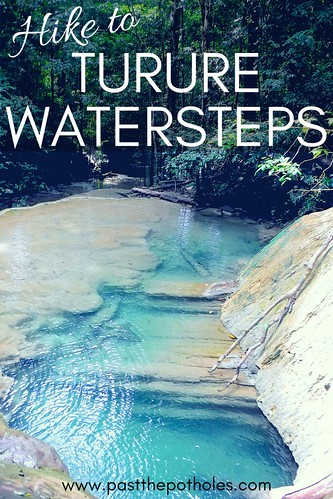 blue water pools in limestone rocks at Turure Watersteps in Trinidad