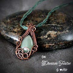 Quiet Beauty - Jade Teardrop and Woven Copper Wire Necklace