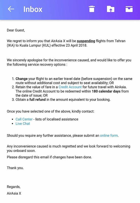 airasia cancels tehran