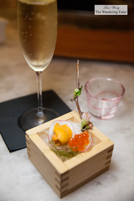 Domaine François Baur Crémant d'Alsace with starter of uni (sea urchin) and ikura (salmon roe)