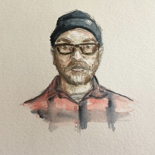 A quick watercolor self portrait. Trying to make myself do more artwork. Kinda lost my momentum in fall.