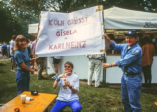 Nachfeier mit Heide und Helmut im Biergarten hinter dem Stadion
