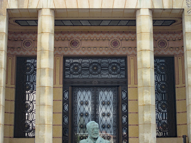 Ornamental ironwork and mosaics - Bibliothèque Carnegie, Reims