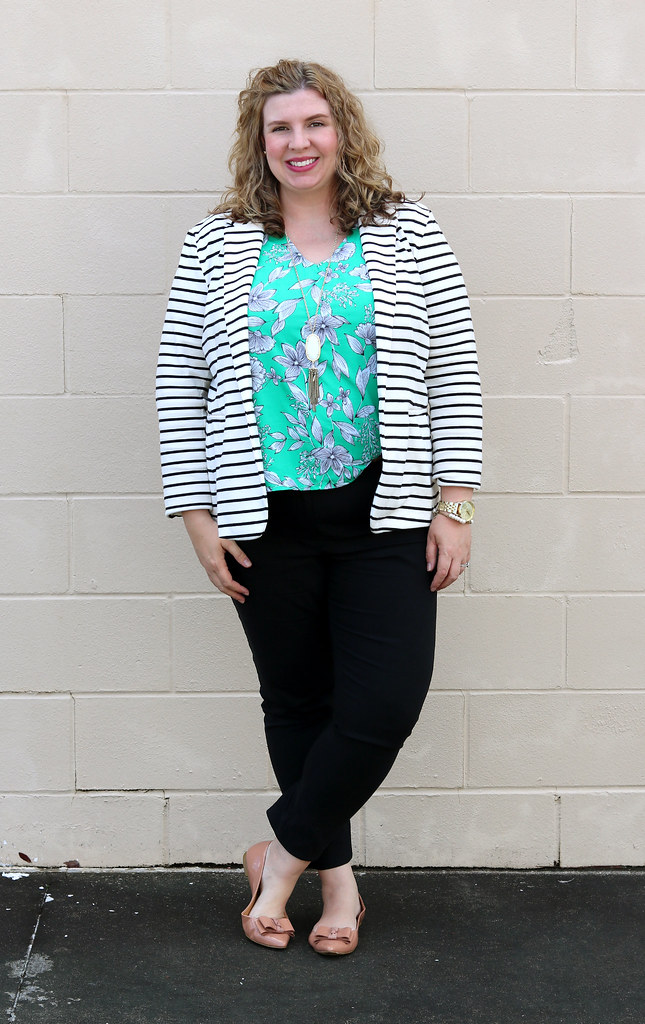 black and white stripe blazer, green floral shell, black pencil pants, bow flats 5