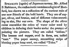 Hart Cour Mon 5_21_1860, p. 2 Alfred S. Robinson Japanese coins