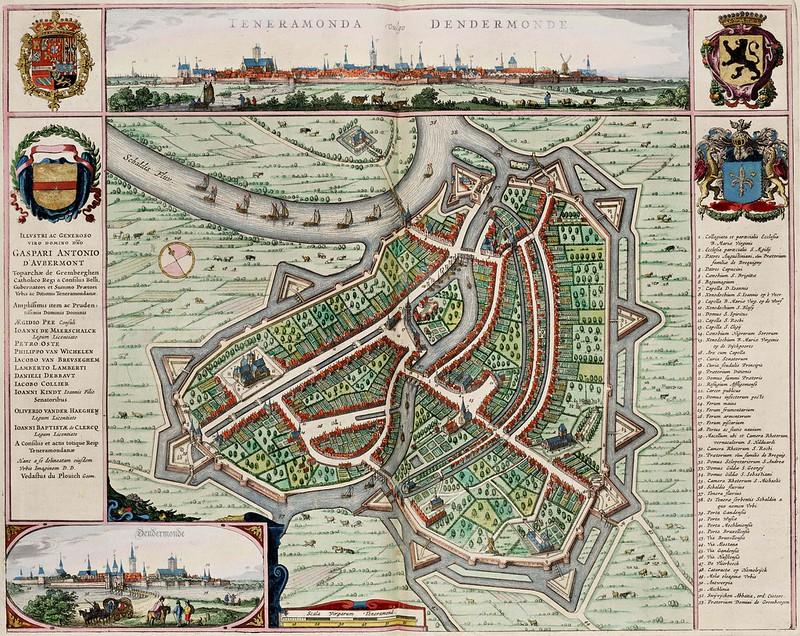 Jan (Joan) Willemsz. Blaeu - Map of Dendermonde, from the Atlas van Loon (1649)