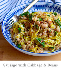 Sausage with Cabbage & Beans