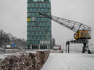 Schnee im Rheinauhafen 2012
