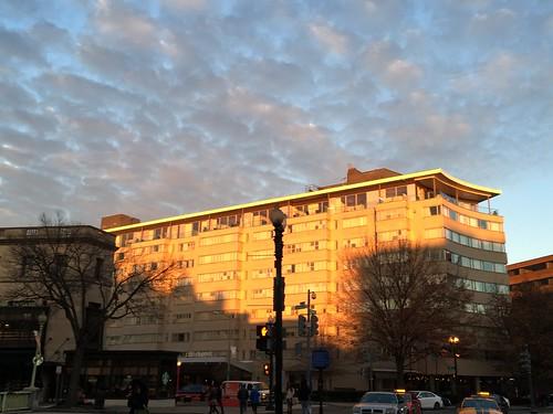 Dupont Circle Hotel, sunlit almost at sunset, 19th Street NW, Washington, D.C.