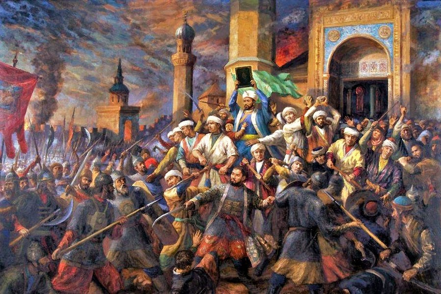 Qolsharif and his students defend their madrassa and the Cathedral Mosque during the Siege of Kazan.