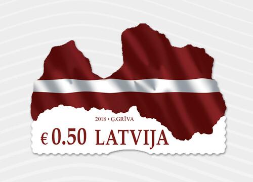 Pastmarka Latvijas karogs – karte