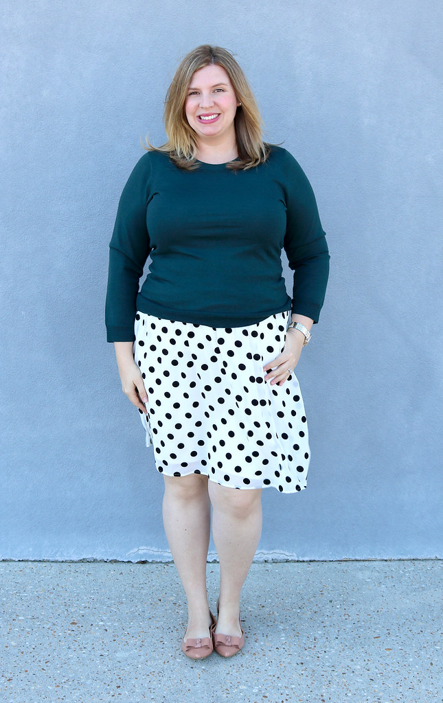 green tippi sweater, black and white polka dot, bow flats 7