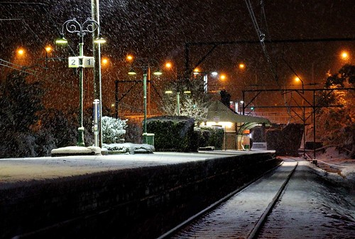 Snow at the train station. From How to explore Australia independently - and on a budget