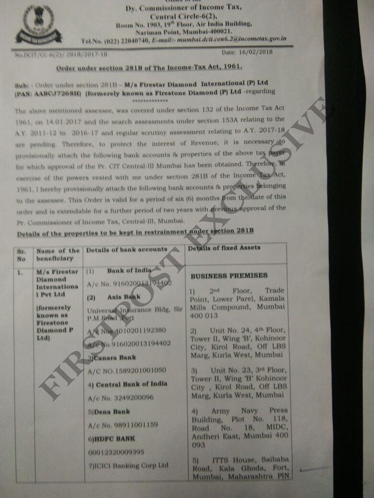 Nirav Modi I-T report