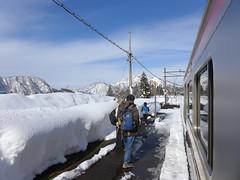越後中里駅。新清水トンネルを抜けて新潟県に入ると積雪量はぐんと増える