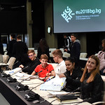Students from the town of Kardzhali visit the main venue of the Bulgarian Presidency