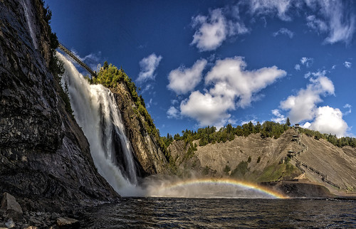 cascadedemontmerencyquebec cascade fall falls waterfalls montmerency quebec wimvandem water outdoors outdoor sky clouds blue contrast landscape mountain nature panorama park rock rocks river sony tree trees waterfall