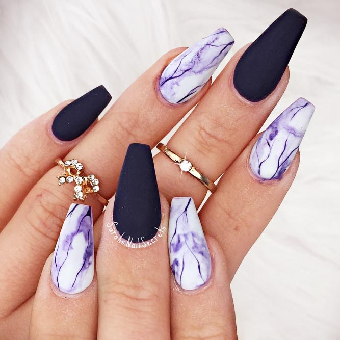 In case matte or glossy purple nail designs are not your cup of tea, you  can always add a little bit of sparkle to your purple mani! - Lovely And Trendiest Purple Nails For Women - Nails C