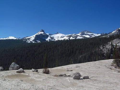 Unicorn Peak (pointy left peak) and Cathedral Peak from Pothole Dome, Yosemite National Park, California