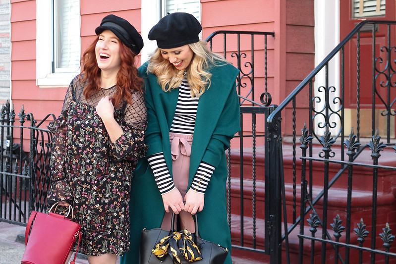 NYC Fashion Bloggers Laughing Photo Shoot Winter Outfit Ideas