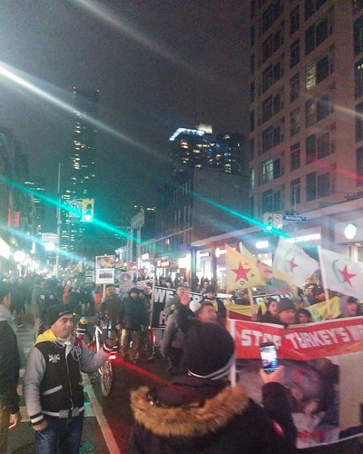Protest against Turkey in Syria (8) #toronto #protest #march #kurdish #flags #kurd #turkey #syria #rojava #afrin #night #yongeandwellesley