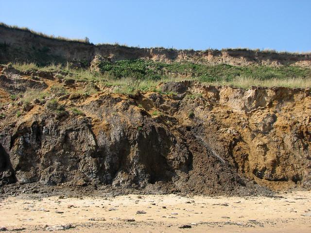 Eroding cliffs at Walton-on-the-Naze