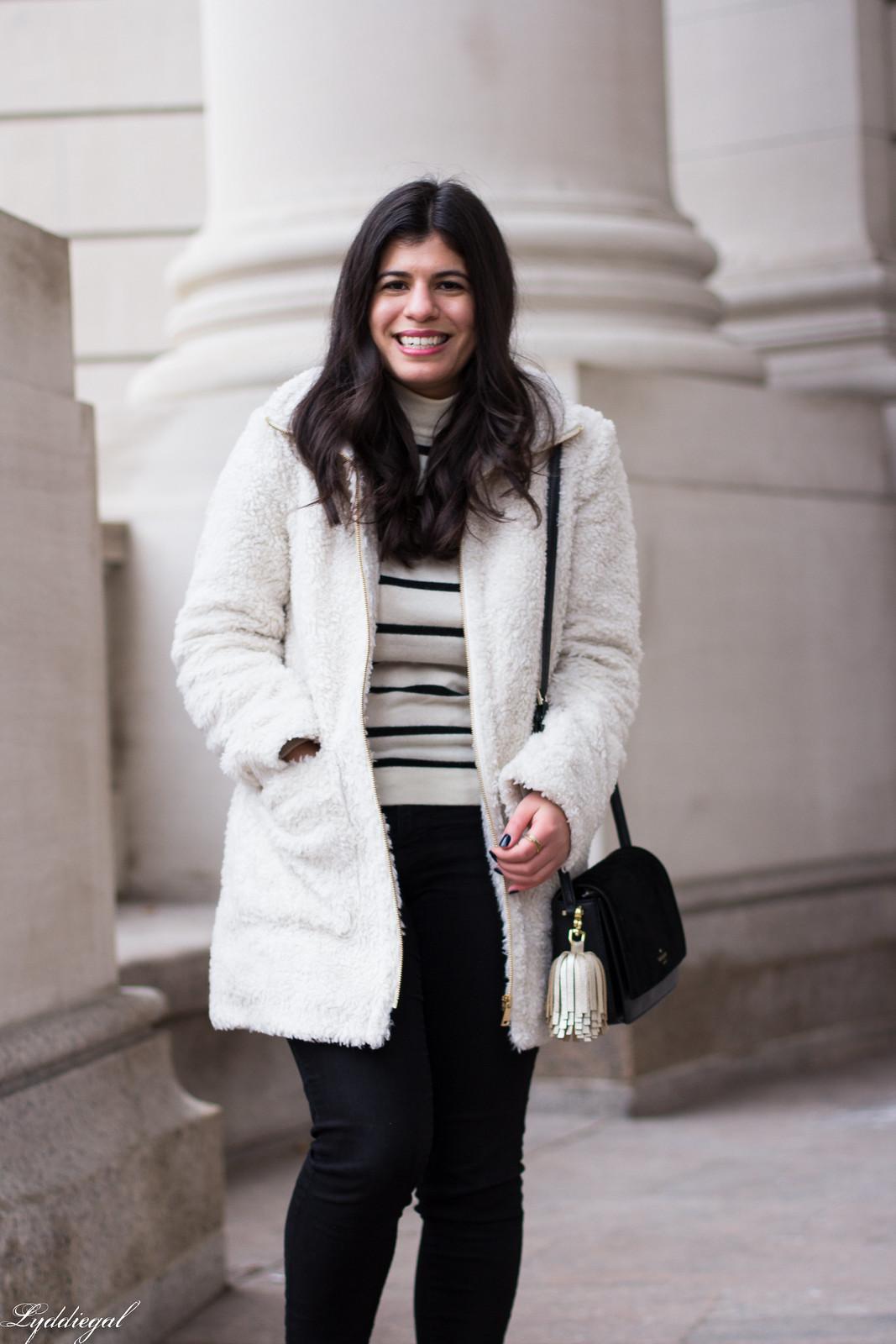 loft teddy bear coat, striped sweater, black jeans, red ferragamo flats-15.jpg