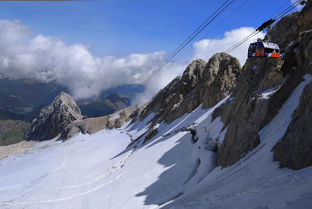 The highest mountain of the Dolomites covered by a glacier