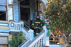San Francisco Fire Department working a house fire.