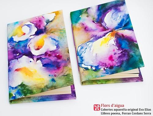 Flors d'aigua; cobertes art original de l'artista Eva Elias, llibres poema manuscrits per l'autor, Ferran Cerdans Serra.