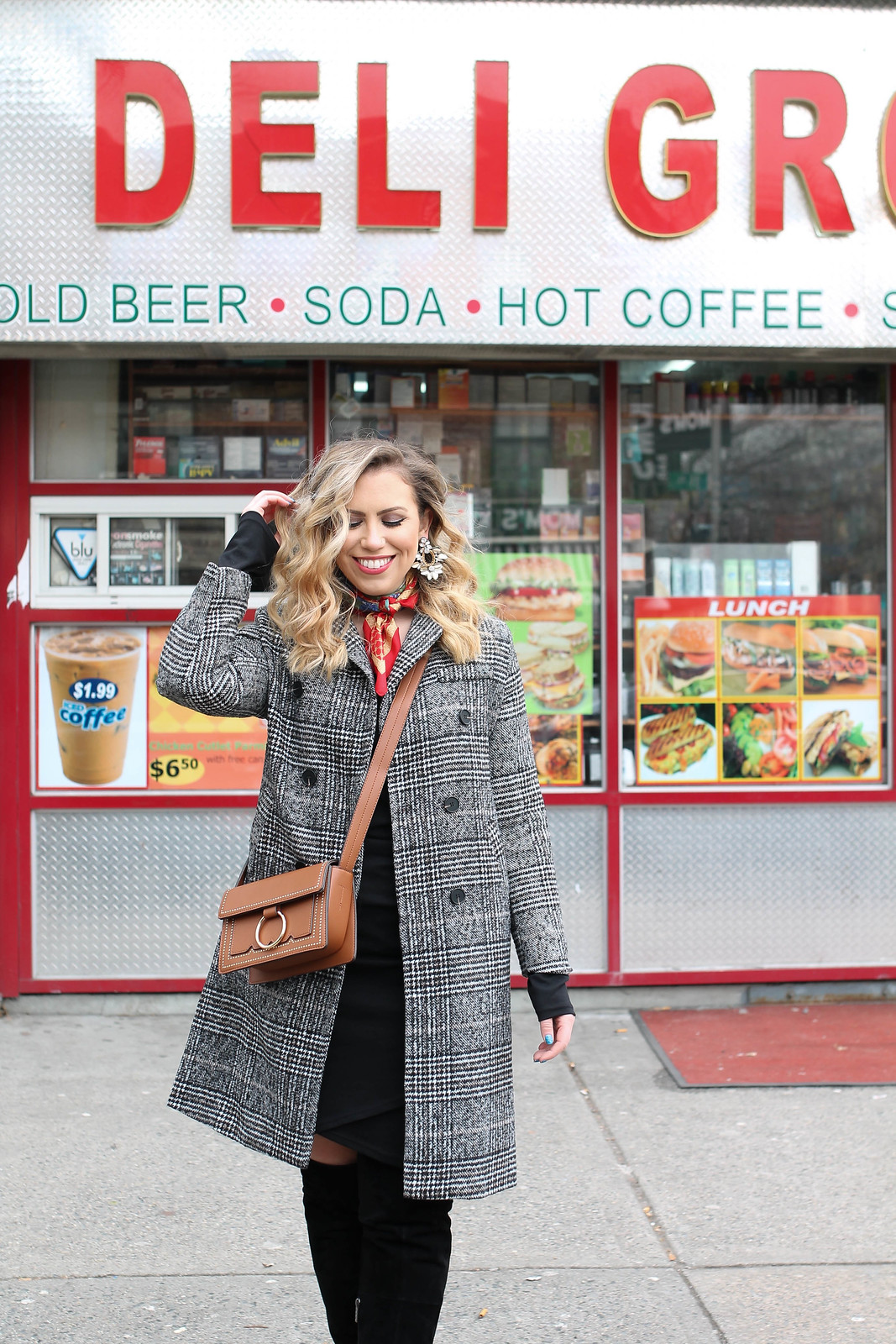 New York Winter All Black Outfit Plaid Coat Melie Bianco Cheri Bag Vintage Red Neck Scarf Curly Blonde Hair