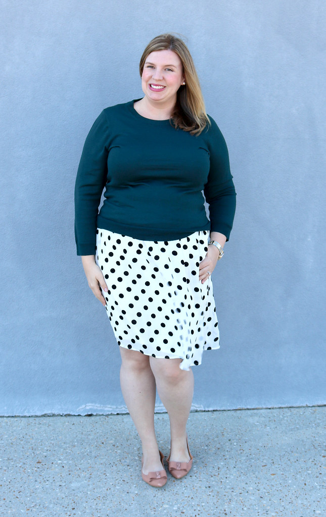 green tippi sweater, black and white polka dot, bow flats 2