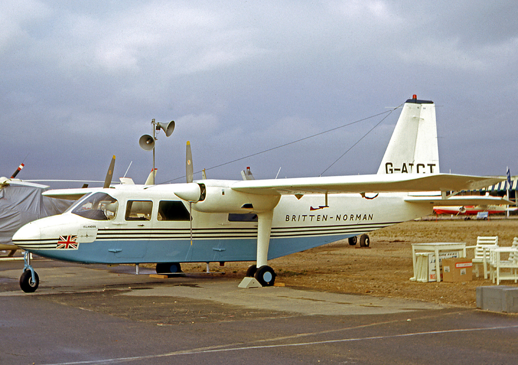 The prototype BN-2 Islander displayed at the 1965 Paris Air Show six days after its maiden flight.